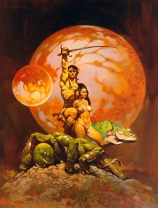 Frank Frazetta's iconic book cover art for the John Carter series