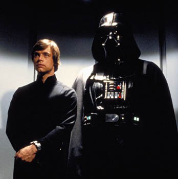 Mark Hamill as Luke Skywalker confronting his destiny and his father in RETURN OF THE JEDI