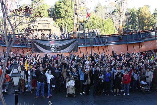Fans are sworn in as new members of Jack Sparrow's crew at Disneyland for the PIRATES 4 3D Trailer Debut event