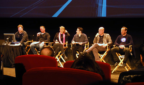 TRON:LEGACY - The Sound Show panel: Phil Benson, Steve Boeddeker, Gwen Whittle, Gary Rizzo, Jim Haygood and Jason Bentley. Photo c. Erik C. Andersen.