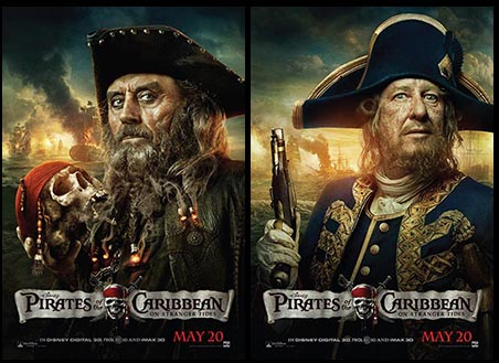 Download the new PIRATES OF THE CARIBBEAN: ON STRANGER TIDES Blackbeard and Barbossa posters at FilmEdge