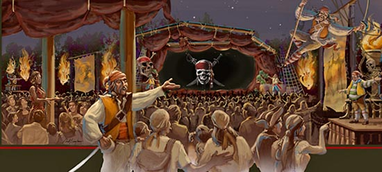 Artist preview of exclusive Disneyland 3D sneak preview of PIRATES OF THE CARIBBEAN: ON STRANGER TIDES
