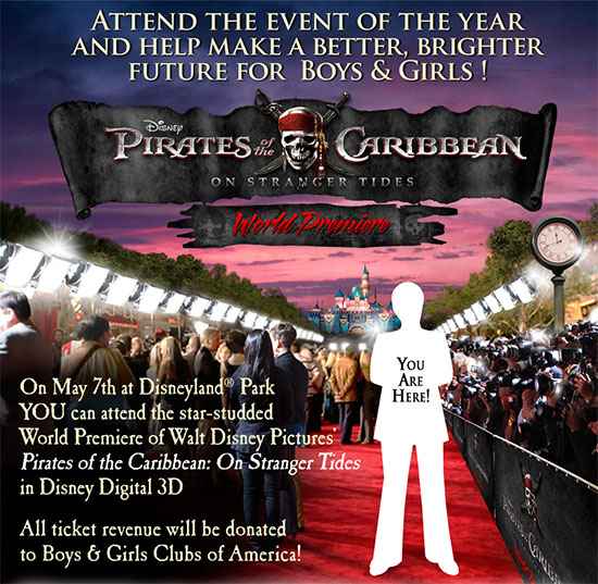 You can attend the World Premiere of PIRATES OF THE CARIBBEAN: ON STRANGER TIDES at Disneyland May 7th