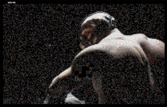 THE DARK KNIGHT RISES mosaic reveal of Tom Hardy as Bane