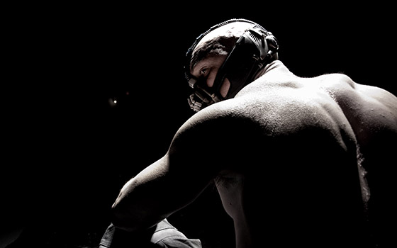 Click to view hi-res image of Tom Hardy as Bane from THE DARK KNIGHT RISES