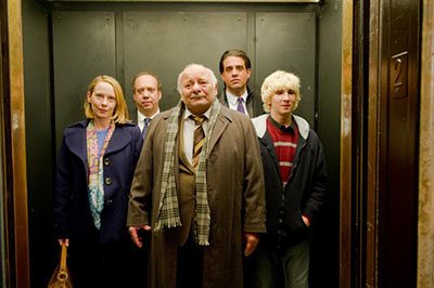 From left: Amy Ryan, Paul Giamatti, Burt Young, Bobby Cannavale, and Alex Shafer in WIN WIN. Photo Credits: Kimberly Wright TM and © 2010 Twentieth Century Fox Film Corp.