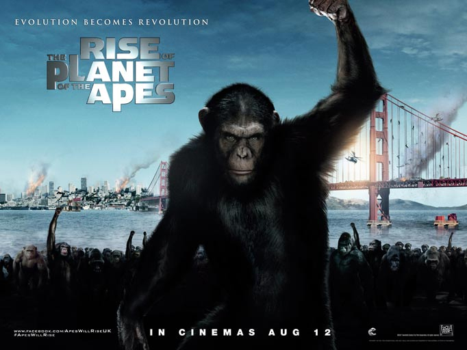 RISE OF THE PLANET OF THE APES quad poster design for the UK