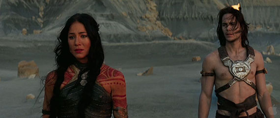 Dejah Thoris (Lynn Collins) and Taylor Kitsch as Disney's JOHN CARTER