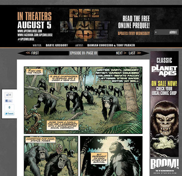 Preview the RISE OF THE PLANET OF THE APES digital prequel comic