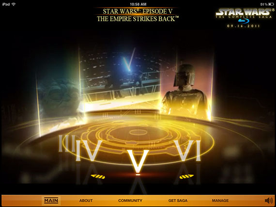 Main menu image of the STAR WARS: The Complete Saga Early Access app now available for iPad on iTunes.