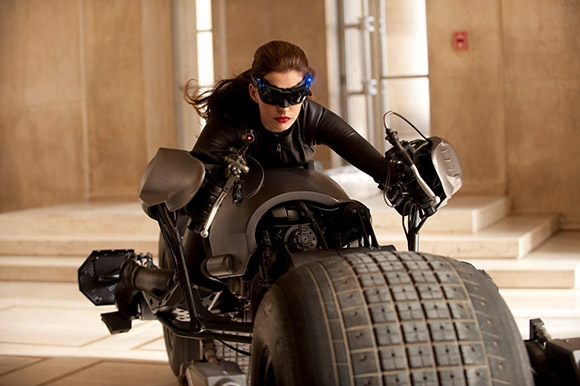First official photo of Anne Hathaway as Catwoman in THE DARK KNIGHT RISES. Photo courtesy and c. Warner Brothers Pictures. All rights reserved.
