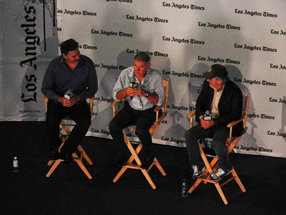 L to R: LA Times Hero Complex host Geoff Boucher, RAIDERS star Harrison Ford and director Steven Spielberg