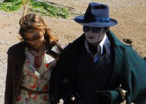 Paparazzi shot of Johnny Depp on location filming DARK SHADOWS
