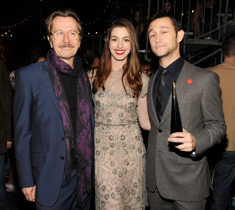 (L to R) Gary Oldman, Anne Hathaway and Joseph Gordon-Levitt accept the Most Anticipated Movie Award for THE DARK KNIGHT RISES