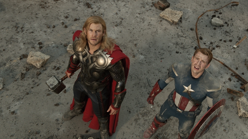 THOR (Chris Hemsworth) (L) and CAPTAIN AMERICA (Chris Evans) (R) as seen in THE AVENGERS opening May 4, 2012