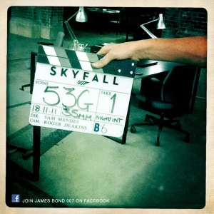 Camera slate marks day 10 of production on SKYFALL - another day at the secret office