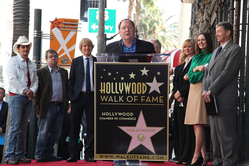 (L-R) Chief Creative Officer, Walt Disney and Pixar Animation Studios and Principal Creative Advisor, Walt Disney Imagineering John Lasseter, Brad Paisley, Patton Oswalt, Owen Wilson, Bonnie Hunt, Emily Mortimer and President/ CEO Hollywood Chamber of Commerce Leron Gubler at John Lasseter's Star Ceremony in front of the El Capitan Theatre in Hollywood, CA on Tuesday, November 1, 2011. (Alex J. Berliner/ABImages)