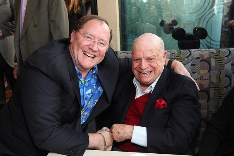(L-R) Chief Creative Officer, Walt Disney and Pixar Animation Studios and Principal Creative Advisor, Walt Disney Imagineering John Lasseter and Don Rickles at John Lasseter's Star Ceremony in front of the El Capitan Theatre in Hollywood, CA on Tuesday, November 1, 2011. (Alex J. Berliner/ABImages)
