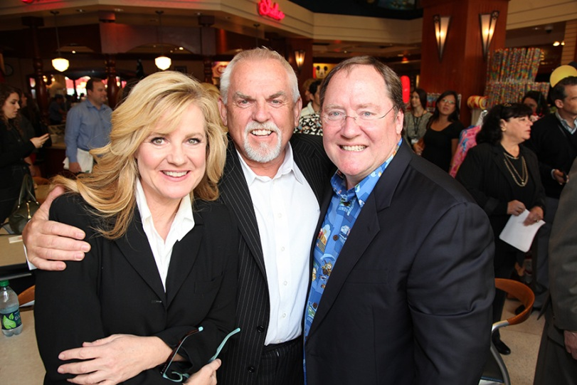 (L-R) Bonnie Hunt, John Ratzenberger and Chief Creative Officer, Walt Disney and Pixar Animation Studios and Principal Creative Advisor, Walt Disney Imagineering John Lasseter at John Lasseter's Star Ceremony in front of the El Capitan Theatre in Hollywood, CA on Tuesday, November 1, 2011. (Alex J. Berliner/ABImages)