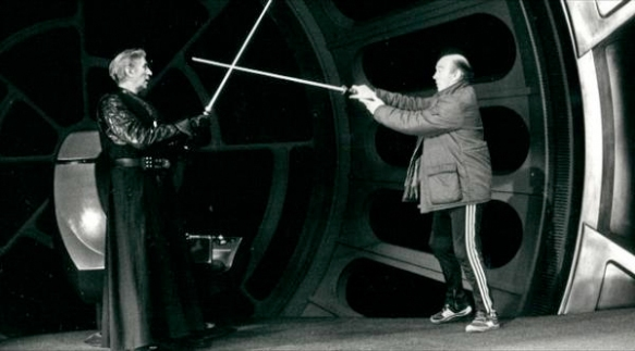 Bob Anderson (left) choreographing a lightsaber duel in RETURN OF THE JEDI