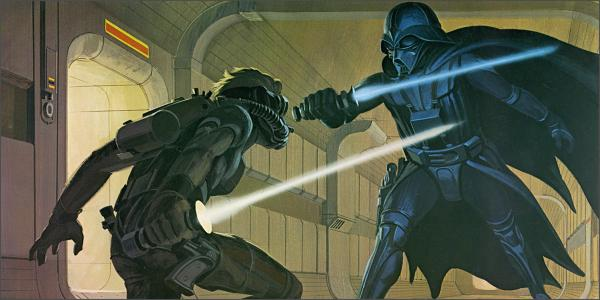 One of Ralph McQuarrie's famous pre-production paintings depicting a lightsaber duel in STAR WARS.