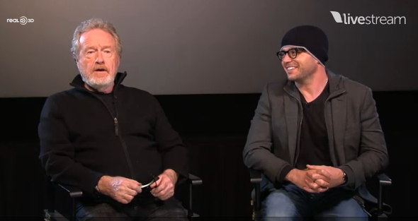 Director Ridley Scott (left) and co-screenwriter Damon Lindelof discuss PROMETHEUS in a Q&A with fans in Anaheim, California