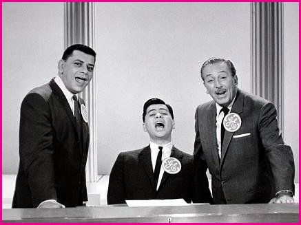 Robert Sherman, left, sings with his brother Richard and Walt Disney