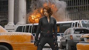 Scarlett Johansson as Black Widow in Marvel's THE AVENGERS