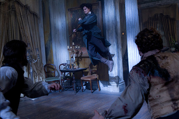 Abraham Lincoln (Benjamin Walker) takes to the air during an epic battle against the undead.