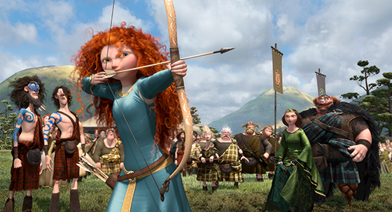 """BRAVE""   (L-R) LORD MACINTOSH and his son, YOUNG MACINTOSH; MERIDA, WEE DINGWALL and his father, LORD DINGWALL; LORD MacGUFFIN and his son, YOUNG MacGUFFIN; QUEEN ELINOR and KING FERGUS.  ©2012 Disney/Pixar. All Rights Reserved."