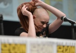 "SAN DIEGO, CA - JULY 20: Actress Karen Gillan speaks at Marvel's ""Guardians Of The Galaxy"" panel during Comic-Con International 2013 at San Diego Convention Center on July 20, 2013 in San Diego, California. (Photo by Alberto E. Rodriguez/WireImage) *** Local Caption *** Karen Gillan"