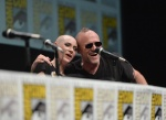 "SAN DIEGO, CA - JULY 20: Actress Karen Gillan (L) and actor Michael Rooker speak at Marvel's ""Guardians Of The Galaxy"" panel during Comic-Con International 2013 at San Diego Convention Center on July 20, 2013 in San Diego, California. (Photo by Alberto E. Rodriguez/WireImage) *** Local Caption *** Karen Gillan;Michael Rooker"