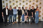 "SAN DIEGO, CA - JULY 20: (L-R) Actors Lee Pace, Benicio del Toro, Dave Bautista, James Gunn, Djimon Hounsou, Karen Gillan, Michael Rooker, Chris Pratt and Zoe Saldana attend Marvel's ""Guardians Of The Galaxy"" panel during Comic-Con International 2013 at San Diego Convention Center on July 20, 2013 in San Diego, California. (Photo by Alberto E. Rodriguez/WireImage) *** Local Caption *** Lee Pace;Benicio del Toro;Dave Bautista;James Gunn;Djimon Hounsou;Karen Gillan;Michael Rooker;Chris Pratt;Zoe Saldana"