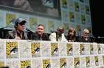 "SAN DIEGO, CA - JULY 20: (L-R) Actors Benicio del Toro, Lee Pace, Djimon Hounsou, Karen Gillan and Michael Rooker speak at Marvel's ""Guardians Of The Galaxy"" panel during Comic-Con International 2013 at San Diego Convention Center on July 20, 2013 in San Diego, California. (Photo by Alberto E. Rodriguez/WireImage) *** Local Caption *** Benicio del Toro;Lee Pace;Djimon Hounsou;Karen Gillan;Michael Rooker"