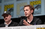 "SAN DIEGO, CA - JULY 20: Producer and President of Marvel Studios Kevin Feige (L) and James Gunn speak at Marvel's ""Guardians Of The Galaxy"" panel during Comic-Con International 2013 at San Diego Convention Center on July 20, 2013 in San Diego, California. (Photo by Alberto E. Rodriguez/WireImage) *** Local Caption *** Kevin Feige;James Gunn"