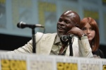 "SAN DIEGO, CA - JULY 20: Actor Djimon Hounsou (L) and actress Karen Gillan speak at Marvel's ""Guardians Of The Galaxy"" panel during Comic-Con International 2013 at San Diego Convention Center on July 20, 2013 in San Diego, California. (Photo by Alberto E. Rodriguez/WireImage) *** Local Caption *** Djimon Hounsou;Karen Gillan"