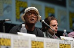 "SAN DIEGO, CA - JULY 20: Actor Samuel L. Jackson (L) and actor Sebastian Stan speak at Marvel's ""Captain America: Winter Soldier"" panel during Comic-Con International 2013 at San Diego Convention Center on July 20, 2013 in San Diego, California. (Photo by Alberto E. Rodriguez/WireImage) *** Local Caption *** Samuel L. Jackson;Sebastian Stan"