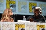 "SAN DIEGO, CA - JULY 20: Actress Scarlett Johansson (L) and actor Samuel L. Jackson speak at Marvel's ""Captain America: Winter Soldier"" panel during Comic-Con International 2013 at San Diego Convention Center on July 20, 2013 in San Diego, California. (Photo by Alberto E. Rodriguez/WireImage) *** Local Caption *** Scarlett Johansson;Samuel L. Jackson"