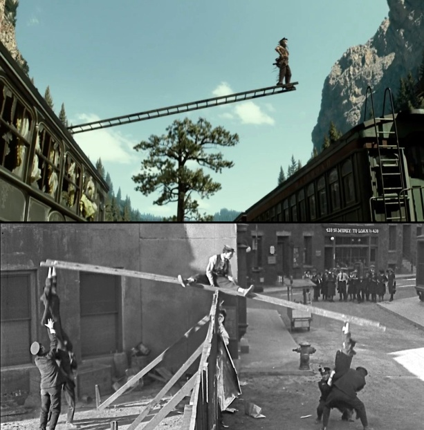 Comparing a film frame from THE LONE RANGER with a similar ladder gag from Buster Keaton's silent film COPS. THE LONE RANGER image ©Disney Enterprises, Inc. and Jerry Bruckheimer Inc.  All Rights Reserved.