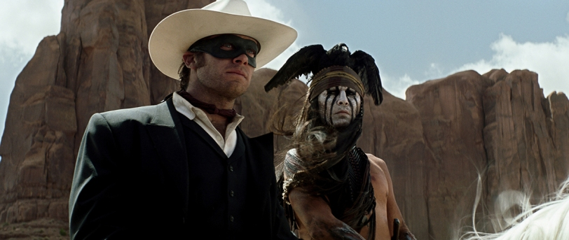 THE LONE RANGER  L to R: Armie Hammer as The Lone Ranger and Johnny Depp as Tonto  Ph: Peter Mountain  ©Disney Enterprises, Inc. and Jerry Bruckheimer Inc.  All Rights Reserved.
