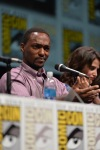 "SAN DIEGO, CA - JULY 20: Actor Anthony Mackie (L) and actress Cobie Smulders speak at Marvel's ""Captain America: Winter Soldier"" panel during Comic-Con International 2013 at San Diego Convention Center on July 20, 2013 in San Diego, California. (Photo by Alberto E. Rodriguez/WireImage) *** Local Caption *** Anthony Mackie;Cobie Smulders"