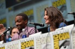 "SAN DIEGO, CA - JULY 20: (L-R) Actors Sebastian Stan, Anthony Mackie and Cobie Smulders speak at Marvel's ""Captain America: Winter Soldier"" panel during Comic-Con International 2013 at San Diego Convention Center on July 20, 2013 in San Diego, California. (Photo by Alberto E. Rodriguez/WireImage) *** Local Caption *** Sebastian Stan;Anthony Mackie;Cobie Smulders"