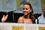 "SAN DIEGO, CA - JULY 20: Actress Zoe Saldana speaks at Marvel's ""Guardians Of The Galaxy"" panel during Comic-Con International 2013 at San Diego Convention Center on July 20, 2013 in San Diego, California. (Photo by Alberto E. Rodriguez/WireImage) *** Local Caption *** Zoe Saldana"