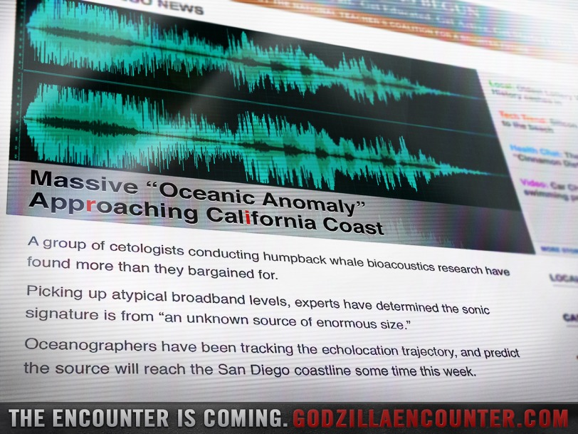 Another GodzillaEncounter.com update tracks a 'oceanic anomaly' heading straight for San Diego and Comic-Con later this week.