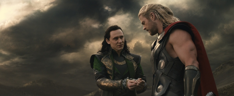 MARVEL'S THOR: THE DARK WORLD L to R: Loki (Tom Hiddleston) and Thor (Chris Hemsworth) ..Ph: Film Frame..© 2013 MVLFFLLC. TM & © 2013 Marvel. All Rights Reserved.