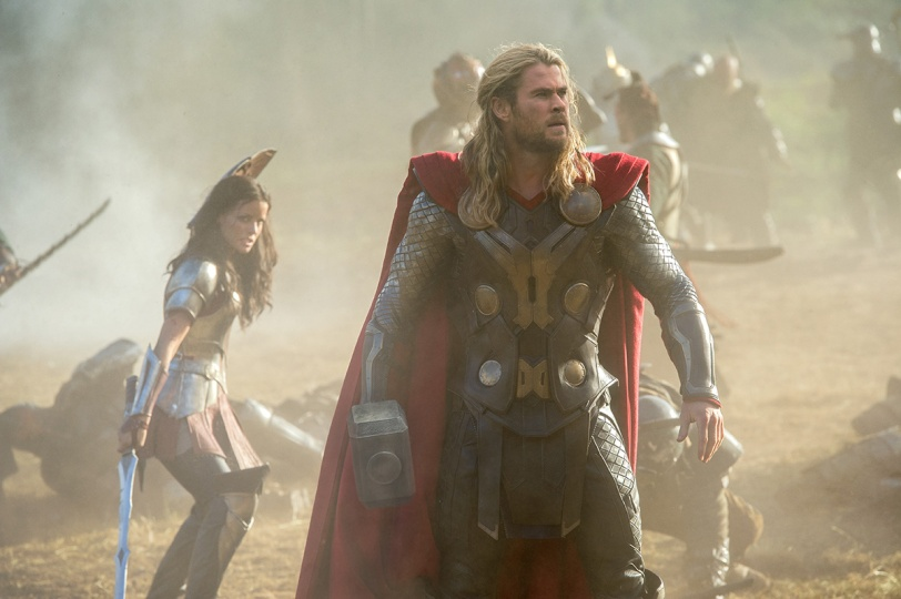 MARVEL'S THOR: THE DARK WORLD. Sif (Jaimie Alexander) and Thor (Chris Hemsworth)..Ph: Jay Maidment. © 2013 MVLFFLLC. TM & © 2013 Marvel. All Rights Reserved.