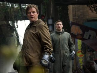 Bryan Cranston as Joe Brody, left, and Aaron Taylor-Johnson as Ford in GODZILLA. Photo: Kimberley French © Warner Brothers/Legendary Pictures.
